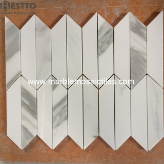 Calacatta Trapezoid Mosaic Tiles Suppliers