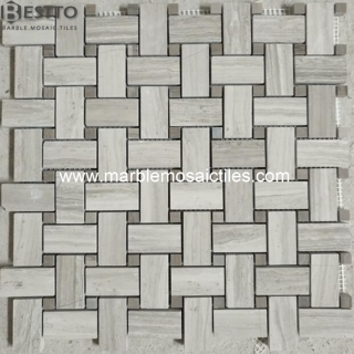 White Wood Basketweave mosaic Suppliers