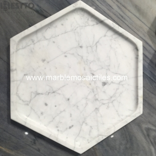 White Carrara Hexagon Tray Suppliers