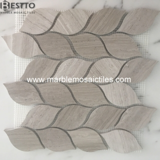 White wood Marble leaves mosaic tiles Online
