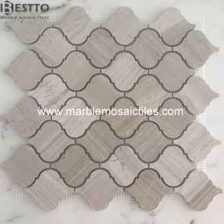 White wood marble Arabesque Mosaic tiles Suppliers
