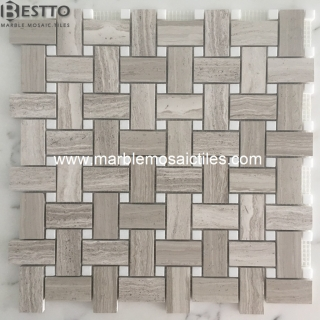 Top Quality White Wood Basketweave mosaic