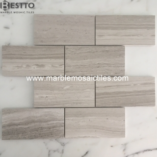 White wood Marble Subway Mosaic tiles Online