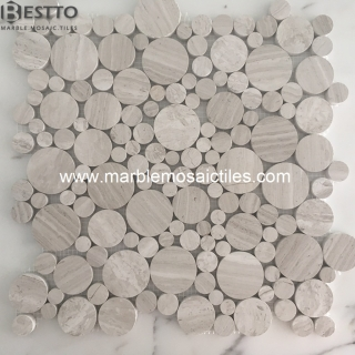 White wood Marble Bubble Mosaic tiles Suppliers