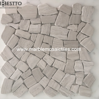 White Wood Tumble Crazy mix mosaic tile Suppliers