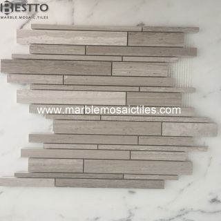Top Quality White wood Marble mixed rectangle mosaic tiles
