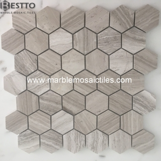 White wood marble hexagon mosaic tiles Online