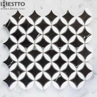 Top Quality White and Black Marble Flower Mosaic Tile