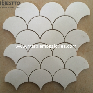 Thassos White Marble Fan Mosaic Tiles Suppliers